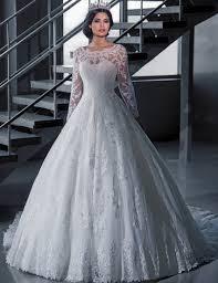Vintage Bridal Ball Gown Long Sleeve Lace Wedding Dresses Princess