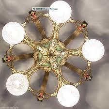 697 vintage 20s 30s ceiling light lamp fixture art nouveau polychrome chandelier