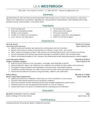 Law Enforcement Resume Objective Cool Law Enforcement Resume Template Professional Security Examples