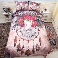 crazy sheep skull 3d feather dreamcatcher bedding queen 8size bedding set cotton bed sheets duvet