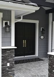 painted double front door. Contemporary Double Exterior Of Home With Chelsea Gray Painted Shakes Black Double  Front Door And White Inside Painted Double Front Door F
