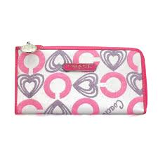 Coach Heart Charm Large Pink Wallets EEF