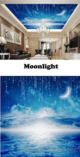3D Moonlight Clouds Starry Night Ceiling Wall Mural Wall paper Decal Wall  Art Print Deco Kids