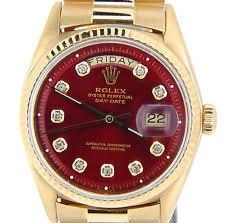 mens diamond rolex wristwatches men rolex solid 18k yellow gold day date president watch w red diamond dial 1803
