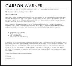Executive Cover Letter Examples Operations Executive Cover Letter Sample Cover Letter Templates