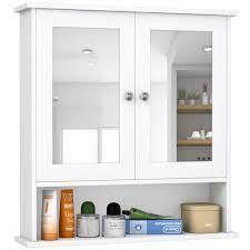 Costway New Bathroom Wall Cabinet Double Mirror Door Cupboard Storage Overstock 18242566