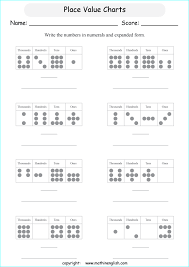 Math Placement Value Chart Place Value Charts Printable Grade 3 Math Worksheet