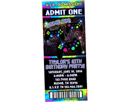 Party Ticket Invitations Fascinating Game Truck Video Game Ticket Invitations Party Print Express