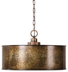 antiqued gold metal drum pendant 3 light distressed