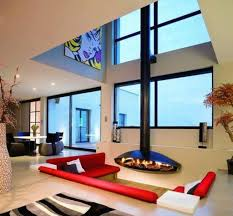 Untitled Sunken Living Room Design With Fireplaces