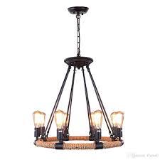 vintage rope rustic chandeliers 8 light pendant lighting chandelier edison bulb light loft retro industrial lamp for kitchen bedroom unique pendant lighting