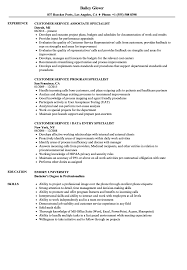 Customer Service Specialist Resume Customer Service Service Specialist Resume Samples Velvet Jobs 19