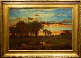 george inness sunset oil painting after cleaning