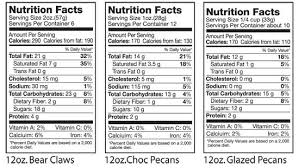 nutrition facts bear claws choc pecans glazed pecans