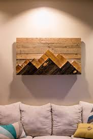 15 wooden mountain wall art