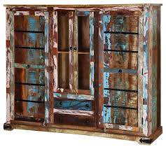 rustic frontier reclaimed wood glass door display cabinet farmhouse china cabinets and hutches by sierra living concepts