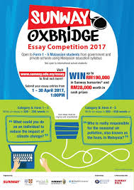 "essay competition to champion ""climate action"" among n  bandar sunway 17 2017 the sunway oxbridge essay competition aimed at improving english proficiency in n schools is back this year"