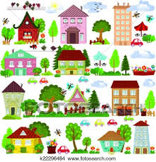 Collection A Cartoon Houses And Trees For You Design Clipart