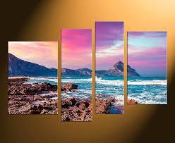 large landscape wall art 4 piece huge canvas art purple canvas photography ocean multi panel art home large canvas wall art landscape