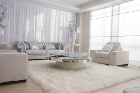 R Excelent White Living Room Design With Fur Area Rug And  Upholstered Modern Sofa