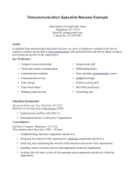 Telecommunication Specialist Resume Telecommunication Specialist Resume shalomhouseus 1