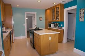 Kitchen Color For Small Kitchens Natural Small Kitchens Color With Blue Wall And Wooden Cabinet On