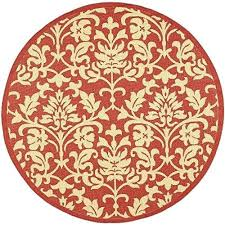 round indoor rugs courtyard collection red and natural indoor outdoor round area rug 6 feet 7