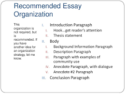 essay lecture 5 recommended essay organization