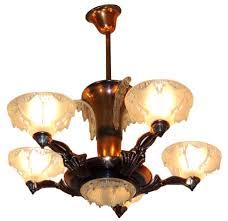 petitot art deco copper chandelier with ezan glass
