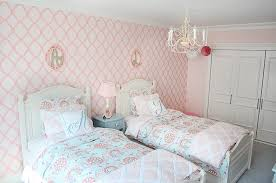 pink and aqua girls shared bedroom