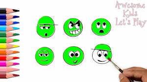How To Draw And Color Emoji L Kids Drawing Emoji Coloring Videos