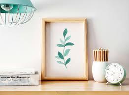 botanical wall art digital watercolor print printable decor plant minimalistic modern art nursery decor yoga wall art