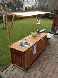 Kitchen, Outdoor Kitchen Sink On Garden Shades Wooden Storage Faucet Marbel  Flooring Cabinets: Best Good Looking