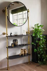 large wall mounted mirror shelving