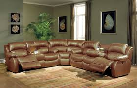 modern living room decoration with glossy brown leather sectionals recliners sofa and best stripes machine made