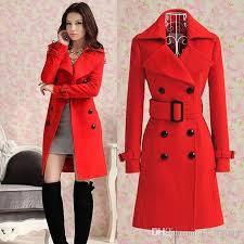hot 2016 fashion new women s las celebrity red blue slim warm winter coat wool woolen jacket outwear long trench coats pea coats belt fre from