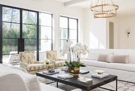 white and gray living room with yellow accents