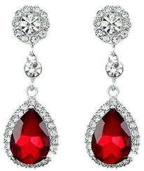 bluelans women luxury waterdrop chandelier stud earrings rhinestone crystal jewelry gift red