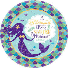 Nav Item for Wishful Mermaid Lunch Plates 8ct Image #1 | Party City