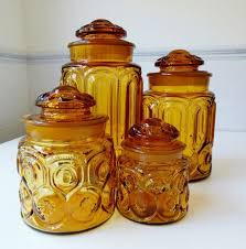 amber glass le smith moon stars kitchen cannisters set of four