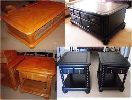 Black painted coffee set furniture. From trash to treasure, found on side  of the