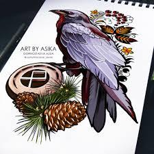 сообщество иллюстраторов иллюстрация ворон эскиз тату неотрад