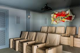 Basement Movie Room with Stacked Seating Contemporary Basement