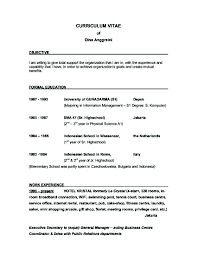 Example Of Objective For Resume Resume Work Template