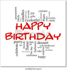 Word In Red Free Art Print Of Happy Birthday Word Cloud Concept In Red Black