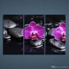 3 panels canvas art flower purple orchid stone home decor wall art painting canvas prints picture on purple orchid wall art with 2018 3 panels canvas art flower purple orchid stone home decor wall