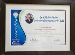 Principal Award Certificate Blossoms Convent School Teachachev