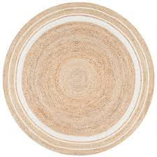 nuloom braided rikki border jute bleached 6 ft x 6 ft round area rug