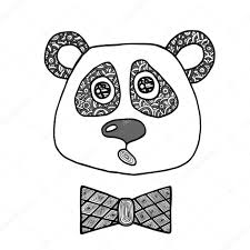 черная голова руки Drawn черная линия голова мальчика панда