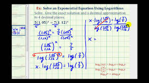ex solve an exponential equation with logarithms variable on both sides